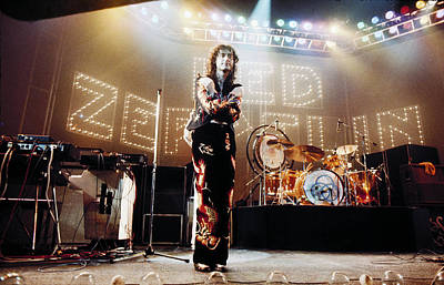 Jimmy Page Photograph - Led Zeppelin Lights 1975 Color by Chris Walter