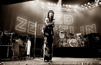 Jimmy Page Photograph - Led Zeppelin Lights 1975 Tinted by Chris Walter