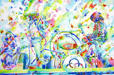 John Bonham Painting - Led Zeppelin Live Concert - Watercolor Painting by Fabrizio Cassetta