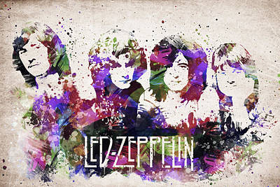Band Digital Art - Led Zeppelin Portrait by Aged Pixel