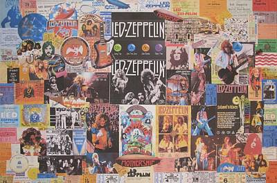 Acrylic Photograph - Led Zeppelin Years Collage by Donna Wilson