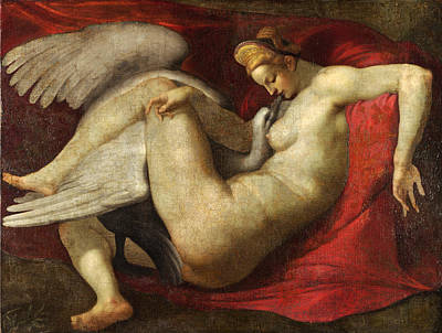 Leda And The Swan Painting - Leda And The Swan by After Michelangelo