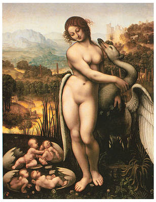 Leda And The Swan Painting - Leda And The Swan by Cesare Da Sesto