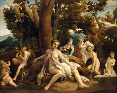 Leda And The Swan Painting - Leda And The Swan by Correggio