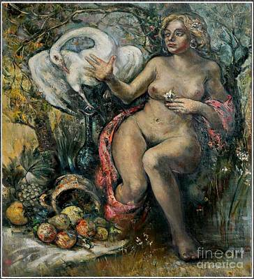 Leda And The Swan Painting - Leda And The Swan by Danilo