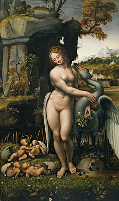 Leda Painting - Leda And The Swan by Francesco Melzi