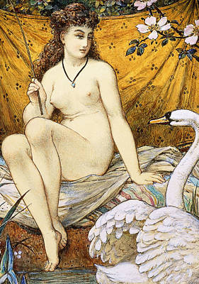 Swan Drawing - Leda And The Swan by William Stephen Coleman