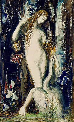 Swan Painting - Leda  by Gustave Moreau