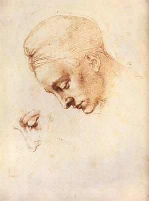 Leda's Head - Study Art Print by Michelangelo Buonarroti