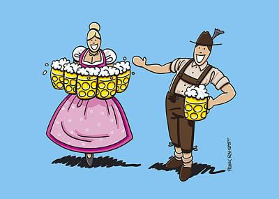Oktoberfest Drawing - Lederhosen Man Welcomes Oktoberfest Beer Waitress by Frank Ramspott