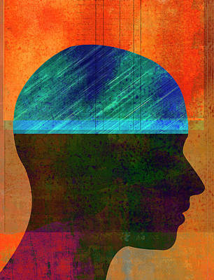 Ledger Books Wall Art - Photograph - Ledger Book In Profile Of Mans Head by Ikon Ikon Images