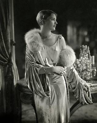 Necklace Photograph - Lee Miller Wearing An Evening Gown by Edward Steichen
