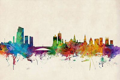 Leeds Digital Art - Leeds England Skyline by Michael Tompsett