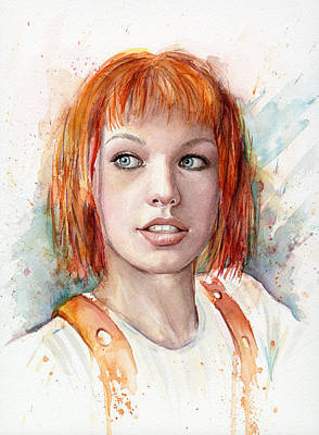 Movies Painting - Leeloo Portrait Multipass The Fifth Element by Olga Shvartsur