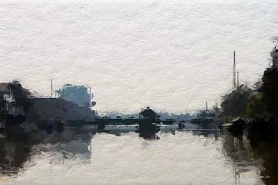 Water Reflections Mixed Media - Leer Harbor  by Steve K