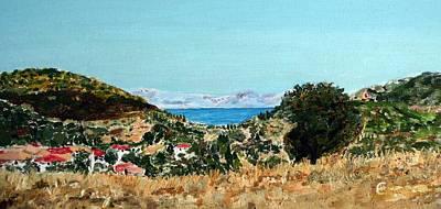 Lefkada Painting - Lefkada Landscape In July by Ethos Lambousa