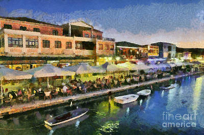 Lefkada Town During Dusk Time Art Print by George Atsametakis