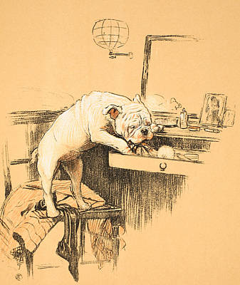 Prairie Dog Drawing - Left Alone In Her Dressing Room by Cecil Charles Windsor Aldin