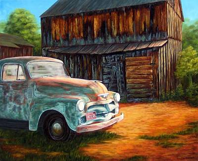 Old Barns Painting - Left Behind In Prescott by Tom Chapman