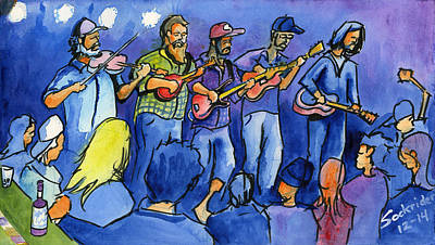 Painting - Left Coast Country At The Barkley Ballroom by David Sockrider