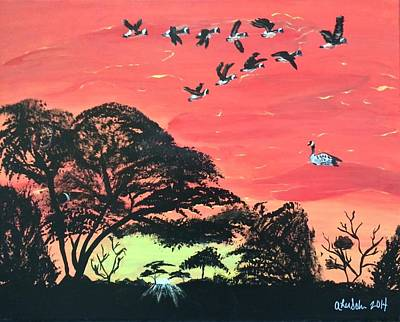 Wings Of A Bird Painting - Left For Greener Pastures by Amanda Schroeder