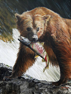 Brown Bear Painting - Legend Of The Falls by Rob Dreyer