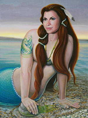Of Mermaids Painting - Legend Of The Lake by Susan Helen Strok