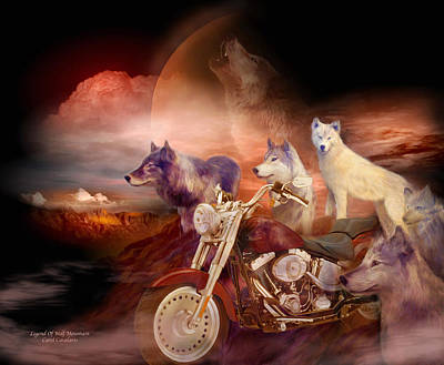 Mountain Mixed Media - Legend Of Wolf Mountain by Carol Cavalaris