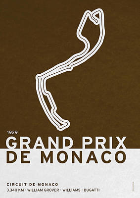 British Digital Art - Legendary Races - 1929 Grand Prix De Monaco by Chungkong Art