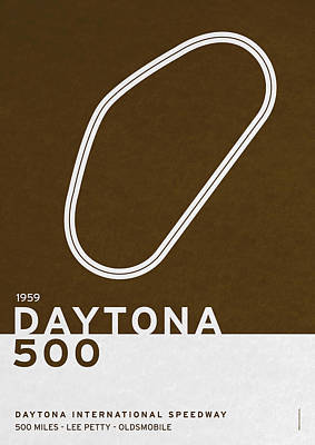 British Digital Art - Legendary Races - 1959 Daytona 500 by Chungkong Art