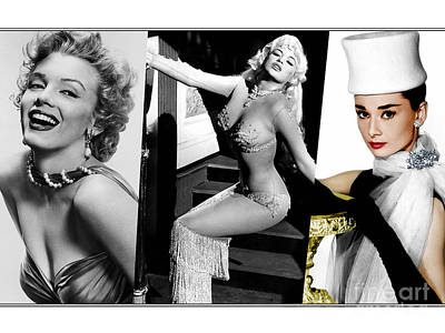Mixed Media - Legends Marilyn Monroe Jane Mansfield And Audrey Hepburn by Marvin Blaine