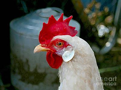 Digital Art - Leghorn Chicken by E B Schmidt