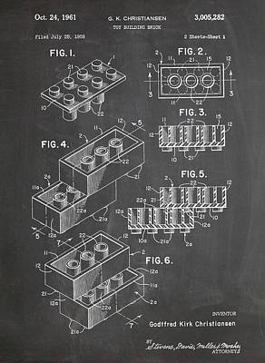Lego Drawing - Lego Blocks Patent Art Chalkboard by Stephen Chambers