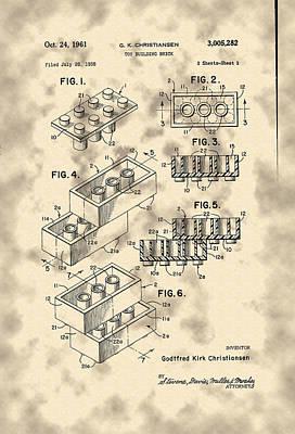 Photograph - Lego Brick Patent by Michael Porchik