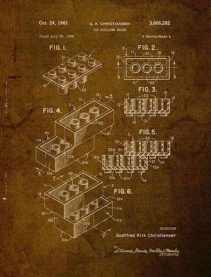 Lego Brick Vintage Patent On Worn Canvas Art Print
