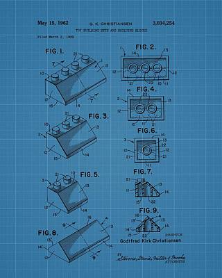 Lego Drawing - Lego Building Blocks Blueprint Patent by Dan Sproul