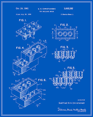 Lego Building Brick Patent - Blueprint Art Print