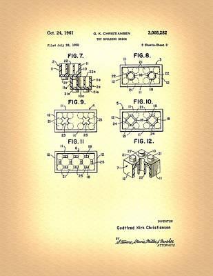Photograph - Lego Cube Patent  by Michael Porchik