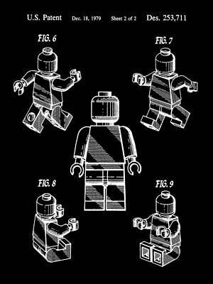 Convention Digital Art - Lego Figure Patent 1979 - Black by Stephen Younts