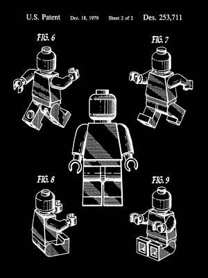 Interlocking Digital Art - Lego Figure Patent 1979 - Black by Stephen Younts