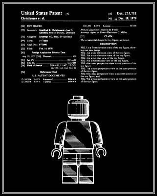 Lego Digital Art - Lego Man Patent - Black - Version One by Finlay McNevin
