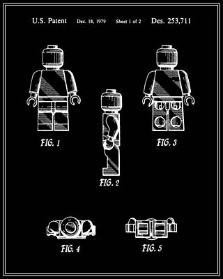Lego Digital Art - Lego Man Patent - Black - Version Two by Finlay McNevin