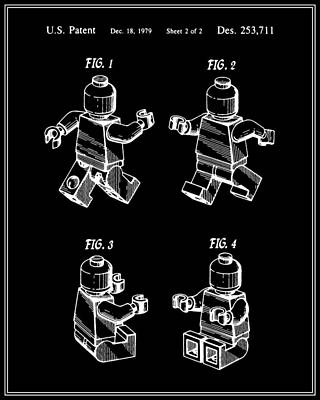 Lego Digital Art - Lego Man Patent - Black - Version Three by Finlay McNevin