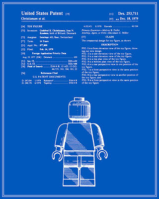 Lego Digital Art - Lego Man Patent - Blueprint - Version One by Finlay McNevin