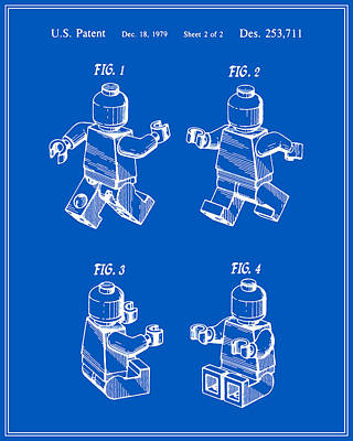 Lego Digital Art - Lego Man Patent - Blueprint - Version Three by Finlay McNevin