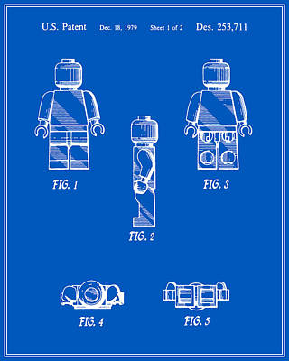 Lego Digital Art - Lego Man Patent - Blueprint - Version Two by Finlay McNevin