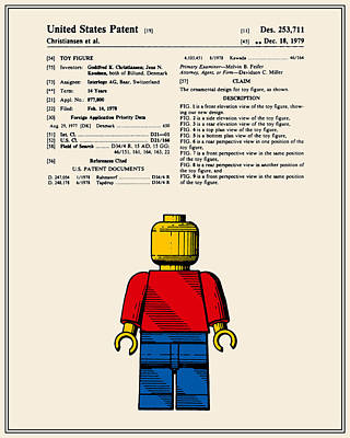 Lego Man Patent - Colour - Version One Art Print