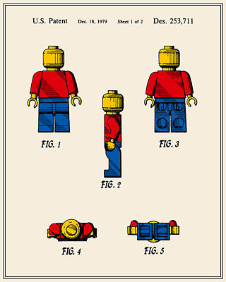 Lego Man Patent - Colour - Version Two Art Print