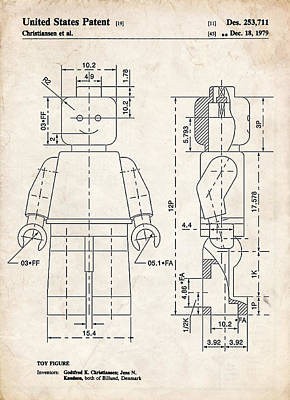 Lego Drawing - Lego Minifigure Patent Art by Stephen Chambers