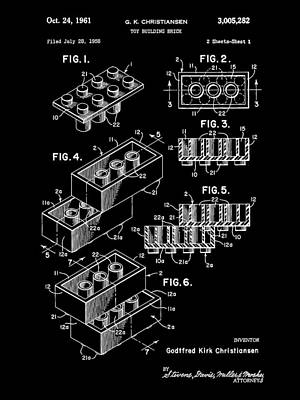 Lego Digital Art - Lego Patent 1958 - Black by Stephen Younts